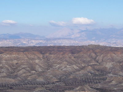 A View Of The Badlands In The Granada Plateau Guadix Depression.