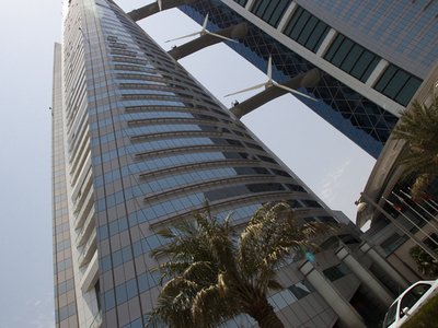Bahrain  World  Trade  Center From Below