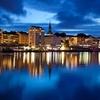 Bergen City In Norway - Night Panorama