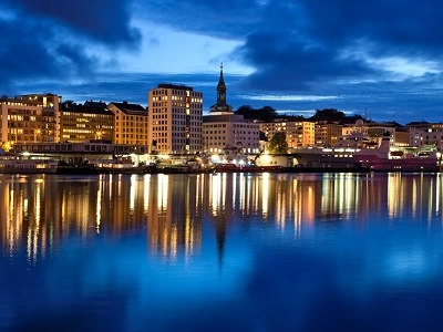 Bergen City In Norway - Night Panorama