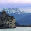 Château De Chillon Medieval Fortress On Shores Of Lake Geneva