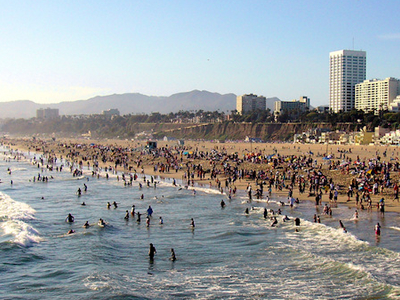 Downtown Santa Monica As Seen From The Santa Monica Pier.