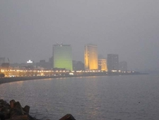 Lit Air India Building & Oberoi Towers - Marine Drive