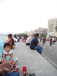 Strolling & Jogging Crowd At Marine Drive
