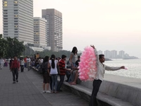 Candy Floss Vendor At Marine Drive