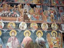 Frescos Inside Holy Trinity Monastery Complex In Meteora