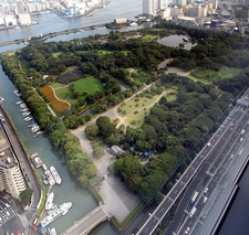 Hama Rikyu Gardens As Seen From Shiodome