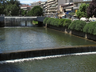 Litheos River Flowing Through City Of Trikala