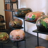 Display Of Lacquered Bowls And Gourds In The Museum