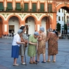 Old Women Gathering In Plaza Corredera Of Cordoba