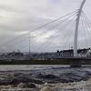 The Pedestrian Footbridge Over The River Moy