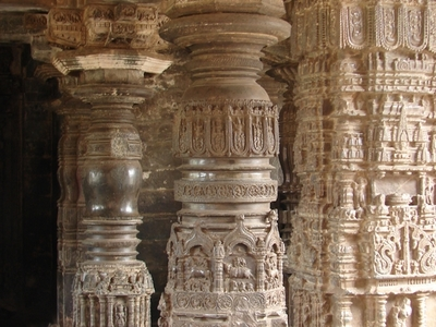 Pillars At  Sarasvati  Temple In  Gadag