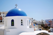 Santorini Church With Cityscape