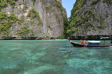 Secluded Beach Surrounded By Limestone Cliffs