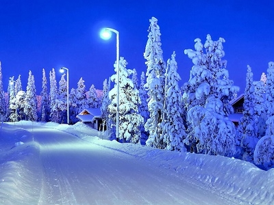 Snowy Road In Ruka - Finland