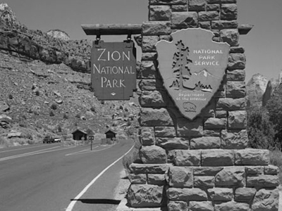 South Entrance Sign - Zion - Utah - USA
