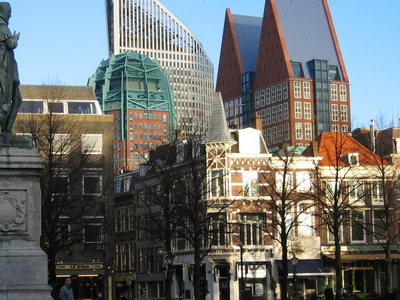 The Hague Skyscrapers Seen From The Plein With Statue Of William