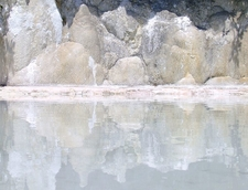 The Reflection Of The Limestone In A Hot Spring