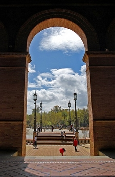 View Seville Plaza De Espana Through Archway - Andalusia