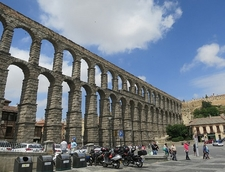 Visitors At Aqueduct Of Segovia