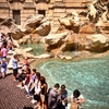Visitors At Trevi Fountain In Rome