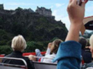 Edinburgh tourist bus. Photos